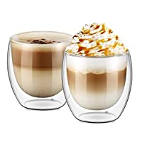 Double Walled Glasses for Cappuccino Coffee Cups Mugs for Hot and Cold Drinks, 250ml set of 2 pcs