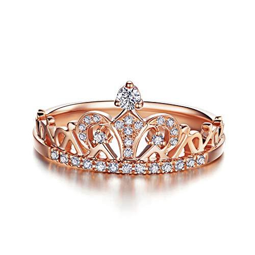 HXUJ 18 Karat Roségold (AU750) Ehering für Frauen 0,2 CT IJ/SI Zertifikat Mode Diamant natürlichen Diamanten Verlobungsring,7