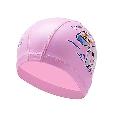Neeiors Dessin animé enfants Silicone étanche Bonnet de bain d'été piscine Spa Bonnet de bain enfants Soin d'oreille Coque Bain Chapeau, Pink Dolphin