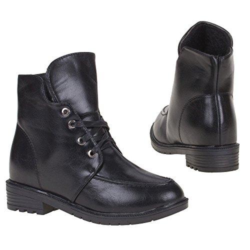 Damen Schuhe, W08, STIEFELETTEN Schwarz