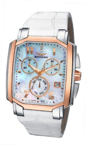 Sandoz - 81260-90 - Montre Femme - Quartz - Chronographe - Bracelet Cuir Blanc