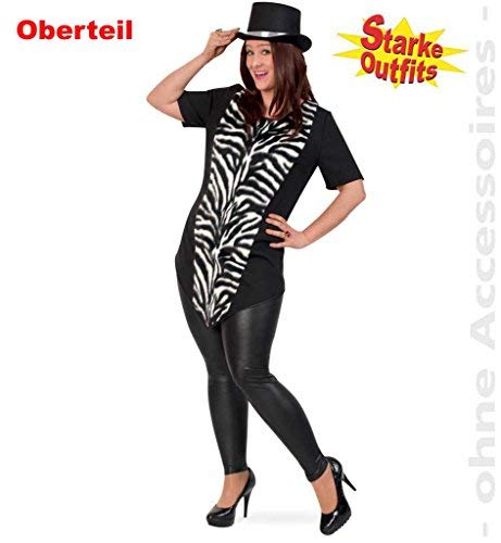Erwachsenen Wild Kostüm Für Tier Zebra - Damenkostüm  Longshirt Zebra , Starke Outfits, ideal für Karneval, Zebrakostüm, Schwarz-Weiß, gestreift, Tiere Afrikas (50)