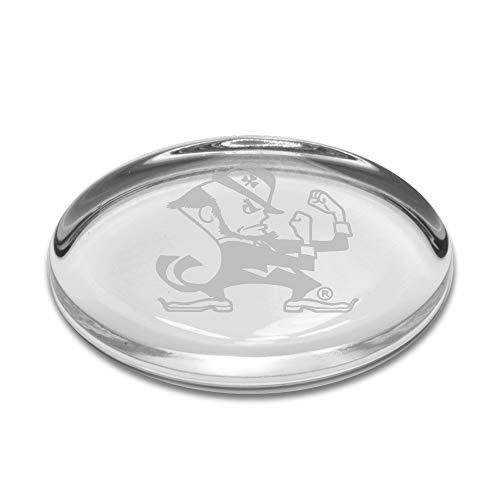 University Glass NCAA Notre Dame Fighting Irish Leprechaun Logo Oval Paperweight, Clear, One Size