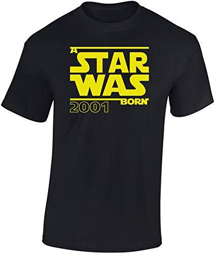 Geburtstags Shirt: A Star was Born 2001-18 Jahre - Achtzehn-TER Geburtstag T-Shirt - Geschenk zum 18. - Frau-en - Mann Männer - Damen & Herren - Lustig - Birthday - Jahrgang (M)