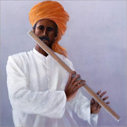 Posterlounge Holzbild 13 x 13 cm: Flötenspieler von Lincoln Seligman/Bridgeman Images (Männlichen Indischen Kostüm)