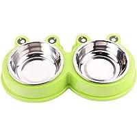 strimusimak Schöne Pet Bowl Food Wasserbehälter Frosch Form Edelstahl Hund Katze Feeder Green