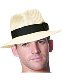 STRAW CRUSHABLE FOLDABLE SUMMER PANAMA FEDORA TRILBY HAT with wide black trim.