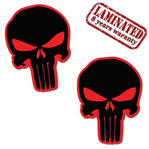 2 Stück Vinyl Punisher Schwarz Aufkleber Autoaufkleber Stickers Auto Moto Motorrad Fahrrad Helm Fenster Tuning B 19