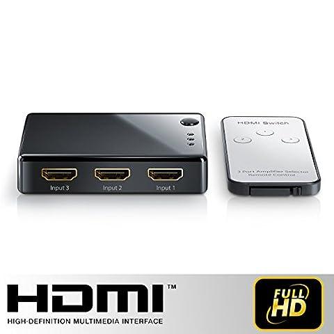 TECH STOR3 - 3 ports HDMI Commutateur Full HD Switcher / | Commutation automatique | avec amplificateur | 3D Ready jusqu'à 1080p | y compris le contrôle à distance (HDMI SWITCH - 3 x IN / OUT + 1 x télécommande)