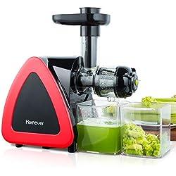 Extracteur de Jus, Homever Sans BPA Extracteur de Jus de Fruits et Légumes avec Moteur Silencieux et Fonction Inverse, et Livré avec un Pichet à Jus et un Pinceau, une oxydation minimale