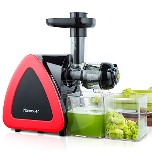 Homever Entsafter Slow Juicer, langsam Drehender Entsafter und Saftauffangbehälter und Reinigungsbürste, Entsafter Gemüse und Obst mit Rücklauffunktion, BPA-frei, Nähren dein Leben