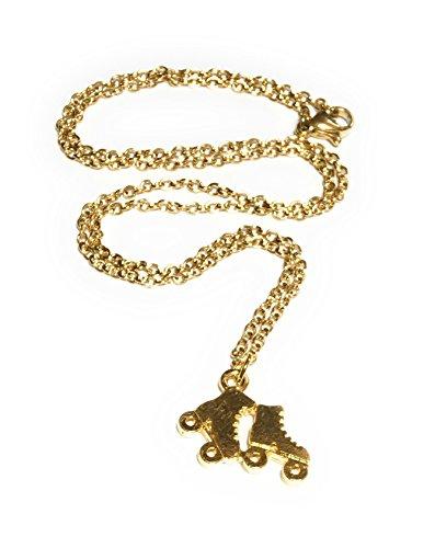 FizzyButton Gifts Gold-Rollschuh: Halskette mit Gold Edelstahlkette im Geschenkkarton plattiert