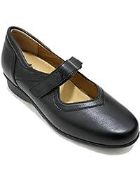590c21fe7d328 Alviflex 7479 - Mercedita Zapato Clásico Mujer Ancho Especial De Piel Negra  con Plantilla Extraible Y