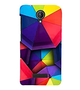 MULTICOLOURED TRADITIONAL UBBRELLA PATTERN 3D Hard Polycarbonate Designer Back Case Cover for Micromax Canvas Spark Q380