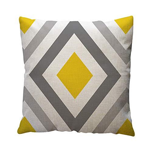 Aiserkly 45x45 cm Gelbe geometrische Muster Dekokissen Fall Kissenbezug Home Decor Baumwolle Leinen Cord-strass-rose