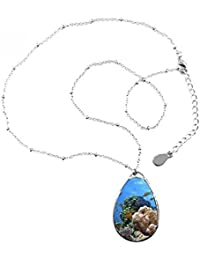 Océano Agua Luz Buceo ciencia naturaleza imagen lágrima forma colgante collar joyas con cadena decoración regalo TmthP