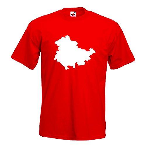 KIWISTAR - Thüringen Deutschland Silhouette T-Shirt in 15 verschiedenen Farben - Herren Funshirt bedruckt Design Sprüche Spruch Motive Oberteil Baumwolle Print Größe S M L XL XXL Rot