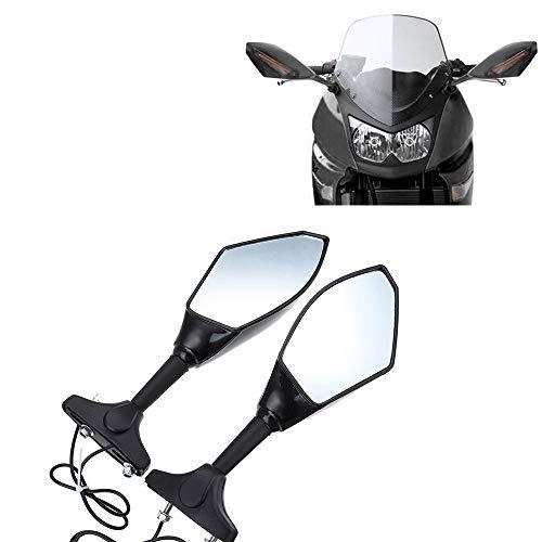 Baedivg Motorrad Rückspiegel Blinker LED-Leuchten für Yamaha, YZF R6 1999-2008 für Kawasaki, für Ninja 250R 2008-2011 - Clip Ninja Kawasaki