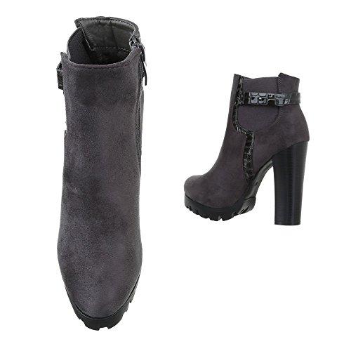 High Heel Stiefeletten Damen Schuhe Schlupfstiefel Pump High Heels Reißverschluss Ital-Design Stiefeletten Grau