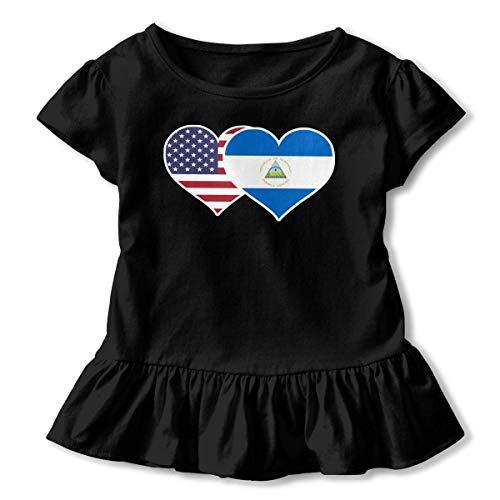 Toddler Baby Girl American Nicaragua Flag Heart Funny Short Sleeve Ruffle T Shirt - American Heart Baby T-shirt