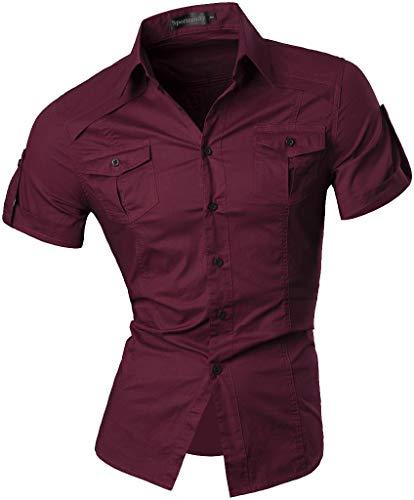 Cotton Blend Short Sleeve Shirt (Sportrendy Herren Freizeit Hemden Slim Button Down Short Sleeves Dress Shirts Tops JZS055 WineRed L)