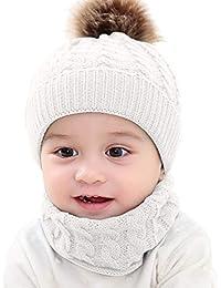 Chennie 2pcs Infantile bébé Chapeau écharpe Enfant en Bas âge Hiver Bonnet  en Tricot Chapeau Foulard Cercle Boucle Neckwarmer Ensemble pour… 45ff75bc9b6