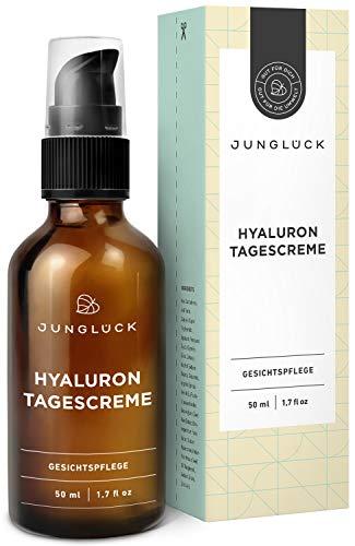 Tagescreme mit Hyaluron & Arganöl auf bio Aloe Vera Basis - vegan & in Braunglas - Anti-Aging Feuchtigkeitscreme für Gesicht & Haut - Junglück natürliche Kosmetik made in Germany - 50 ml