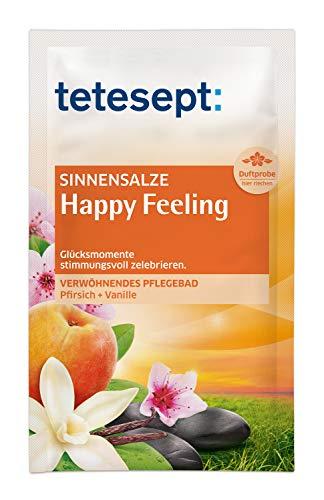 tetesept Badesalz Sinnensalze Happy Feeling - Meersalz Badezusatz - verwöhnt Seele & Geist - Pflegebad aus hauchfeinen Puderkristallen - leicht löslich - 10 Tütchen à 60 g