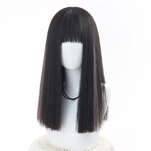 Chang Xiang Ya Shop Perruques de Cheveux raides réalistes Noirs Perruques mi-Longues féminines moelleuses Perruques Naturelles de Mode Perruques Pleines