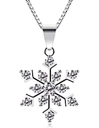B.Catcher Snowflake Neckalce, Sterling Silver Sparking Cubic Zirconia Snowflake Pendant Necklace, 18""