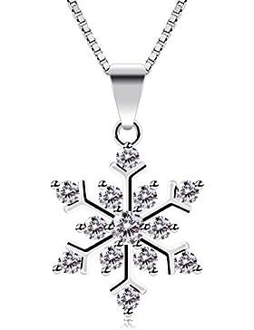 B.Catcher Kette Damen mit Schneeflocke 925 Sterling Silber Halskette mit Etui Italien Kette 45cm