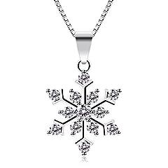 Idea Regalo - B.Catcher collana in argento con pendente in zircone a forma di fiocco di neve