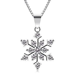 """B.Catcher Halskette Schneeflocken Damen Kette Anhänger 925 Sterling Silber Valentinstag Geschenk""""Die Eiskönigin""""45cm Kettenlänge"""