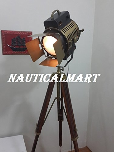 Spotlight Thor, vintage style, headlight look, antique style, with tripod, lamp, brown BY NAUTICALMART -