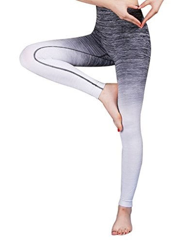 Aivtalk - Femme Legging de Sport en Nylon - Couleur Gradient - Pantalons de Formation Slim Serré - Taille Haute -Capri Jogging Yoga Collants Elastique pour Danse Course Zumba-Noir et Blanc-M