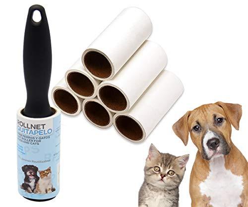 BPS Quitapelusa para Mascotas [1 Mango y 7 Rollos (60 Hojas/Roll)] Cepillo de Limpieza para Hogar Removedor de Polvo Pegajoso Recolector Pelo Cepillo Limpiador del Polvo (7 Rolls+ 1 Mango) BPS-7035*1