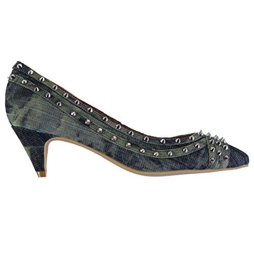 Jeffrey Campbell Brea Stud Femmes Escarpins Chaussures Talon Aiguille Stiletto Kaki/Argente