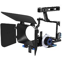 Andoer C500 Aleación de Aluminio Kit Rig Jaula de Videocámara Cámara Vídeo Sistema de Fabricación de Películas con 15mm Rod Caja Mate sigue el Foco Empuñadura para Canon Nikon DSLR