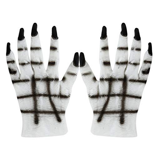 MOONQING Halloween Black White Skeleton Handschuhe Skull Kostümzubehör Ghost Bones Handschuhe für Dance Party Kostüm Handschuhe