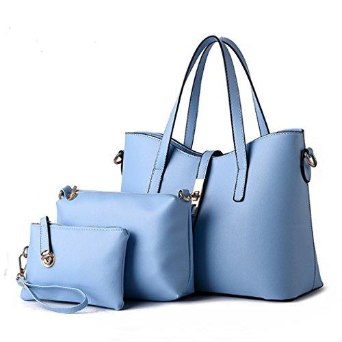 Ein Satz drei Stücke Frauen Art und Weise synthetische lederne Handtaschen Schulter Beutel Spielraum Beutel heiß Hellblau