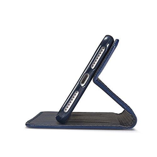 JIALUN-Telefon Fall Luxus Mixed Stitching Style Double Side Magnetische Verschluss Ultra Slim Premium Leder Tasche mit Kickstand und Card Slots für iPhone 6 Plus / 6s Plus ( Color : Brown ) Blue