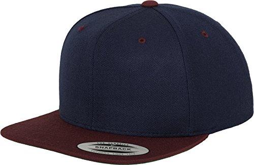 Yupoong Flexfit Unisex Kappe Classic Snapback 2-Tone, zweifarbige blanko Cap mit geradem Schirm, One Size Einheitsgröße für Männer und Frauen, Farbe nvy/maroon