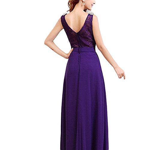 June's Young Femme Robe de soirée femme Longue Simple Sexy Col V Lace sans manche avec accessoire strass Violet