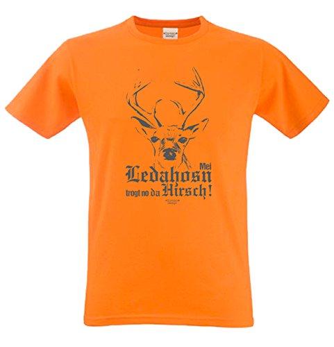 Mei Ledahosn trogt no da Hirsch Fun-Motiv-Sprüche-T-Shirt Rehbock Geweih Hörner Volksfest Oktoberfest Trachtenshirt Herren Farbe: orange Orange