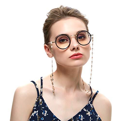 Brillenketten Gold für Lesebrillen Perlen Brillen Cord Brillenband Damen Lesebrille Brille Kette Sonnebrillen Band Lesebrillen Kette Lesebrillen Band Brille Cords Hals Cord