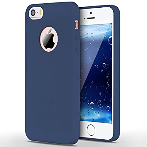 Case for iPhone 5 / 5S / SE, Yokata Ultra Thin Slim Lightweight Matte Soft Silicone Gel TPU Cover Trendy Candy Colour Back Bumper Rubber Shockproof Non-slip Protective Case for iPhone 5 / 5S / SE - Navy Blue