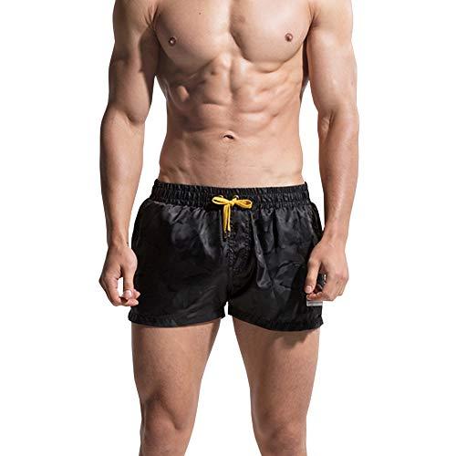 48bcc612c7 SXSHUN-Bañadores de Playa para Hombres Pantalones Cortos Color Liso con  Cordón Seca Rápido,