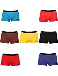 Clifton Men's Trunk Underwear Pack Of 7-Black-Bright Red-Bright Yellow-Brown-Turquoise-Vivid Blue-Red-Trunk