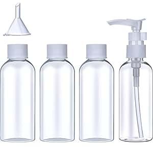 Set di Bottiglie Flacone in Plastica da Viaggio (100 ml) Trasparenti Contenitori di Articoli da Toeletta di Volo Cosmetici Liquido Piccolo Imbuto con Sacchetto Trasparente