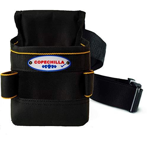 COPECHILLA porta utensili da cintura professionale con doppia spesso base PVC,porta utensili da lavoro cintura 8 tasche impermeabile resistente all\'usura per elettricista,costruttore,carpentiere,nero